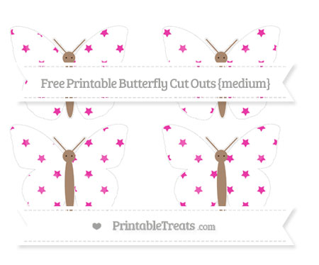Free Hot Pink Star Pattern Medium Butterfly Cut Outs