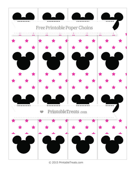 Free Hot Pink Star Pattern Mickey Mouse Paper Chains