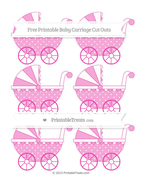 Free Hot Pink Star Pattern Small Baby Carriage Cut Outs