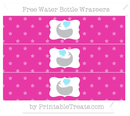Free Hot Pink Star Pattern Whale Water Bottle Wrappers