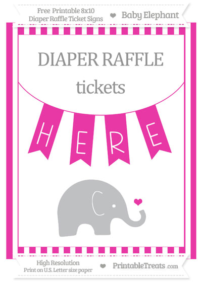 Free Hot Pink Striped Baby Elephant 8x10 Diaper Raffle Ticket Sign