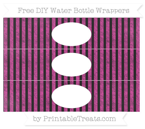 Free Hot Pink Striped Chalk Style DIY Water Bottle Wrappers