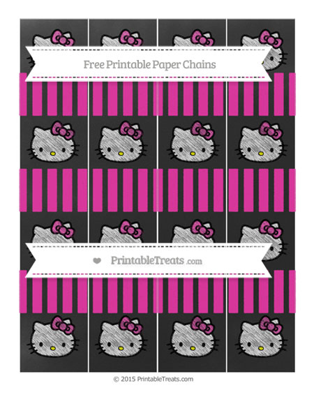Free Hot Pink Striped Chalk Style Hello Kitty Paper Chains