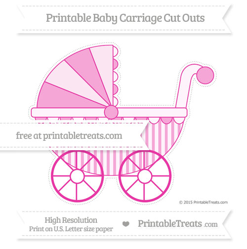 Free Hot Pink Striped Extra Large Baby Carriage Cut Outs