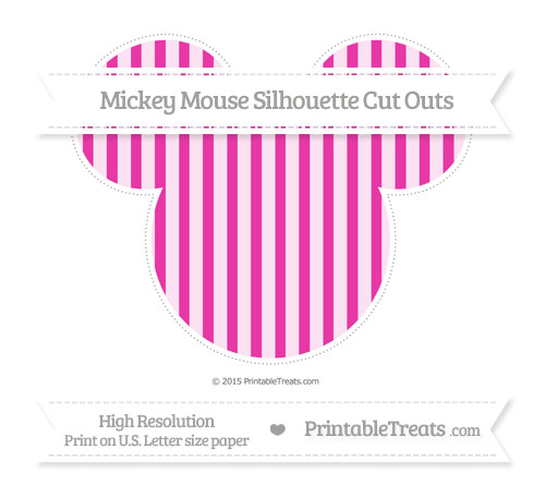 Free Hot Pink Striped Extra Large Mickey Mouse Silhouette Cut Outs
