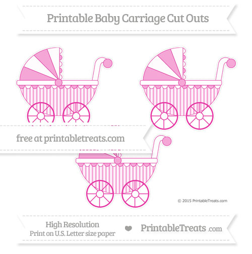 Free Hot Pink Striped Medium Baby Carriage Cut Outs