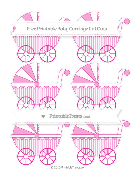 Free Hot Pink Striped Small Baby Carriage Cut Outs
