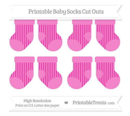 Free Hot Pink Striped Small Baby Socks Cut Outs