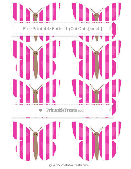 Free Hot Pink Striped Small Butterfly Cut Outs