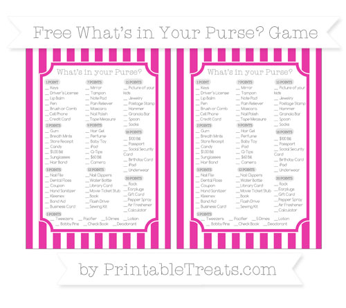 Free Hot Pink Striped What's in Your Purse Baby Shower Game
