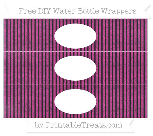 Free Hot Pink Thin Striped Pattern Chalk Style DIY Water Bottle Wrappers