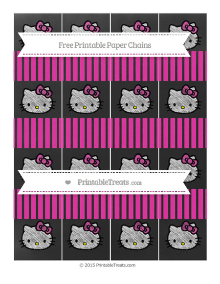 Free Hot Pink Thin Striped Pattern Chalk Style Hello Kitty Paper Chains