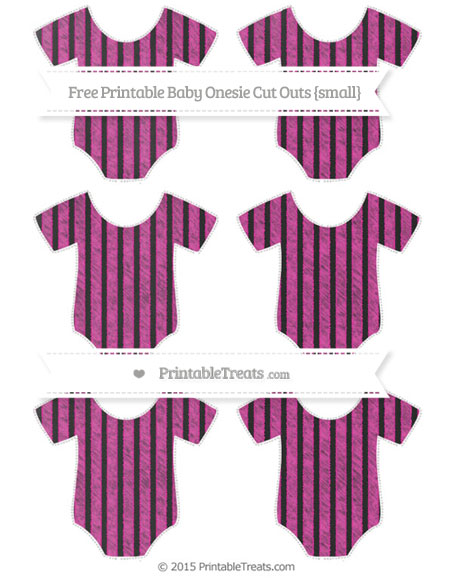 Free Hot Pink Thin Striped Pattern Chalk Style Small Baby Onesie Cut Outs