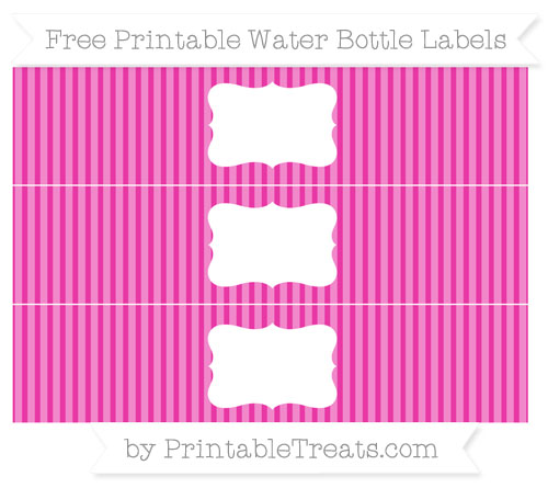 Free Hot Pink Thin Striped Pattern Water Bottle Labels