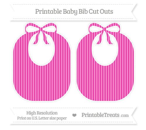 Free Hot Pink Thin Striped Pattern Large Baby Bib Cut Outs