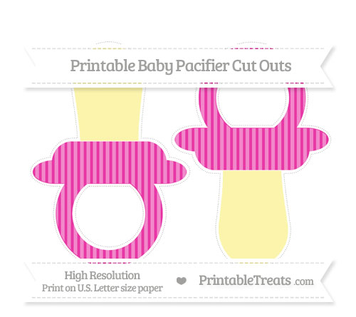 Free Hot Pink Thin Striped Pattern Large Baby Pacifier Cut Outs