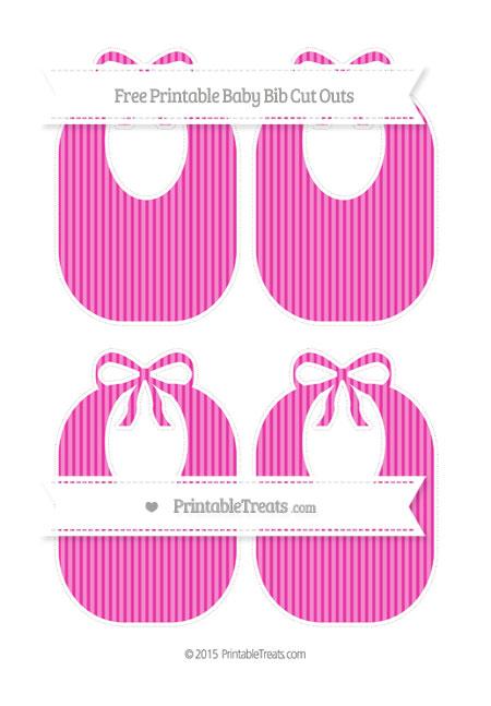 Free Hot Pink Thin Striped Pattern Medium Baby Bib Cut Outs