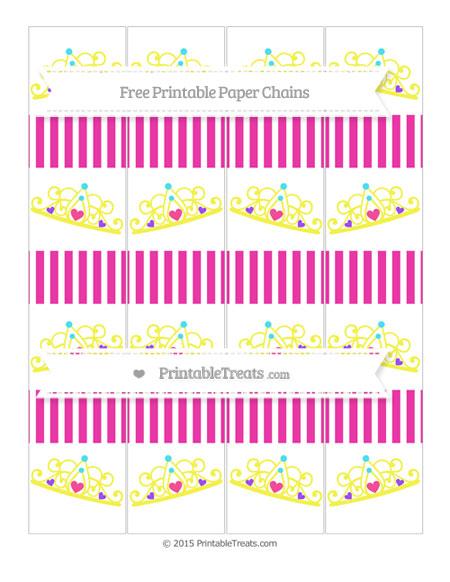 Free Hot Pink Thin Striped Pattern Princess Tiara Paper Chains