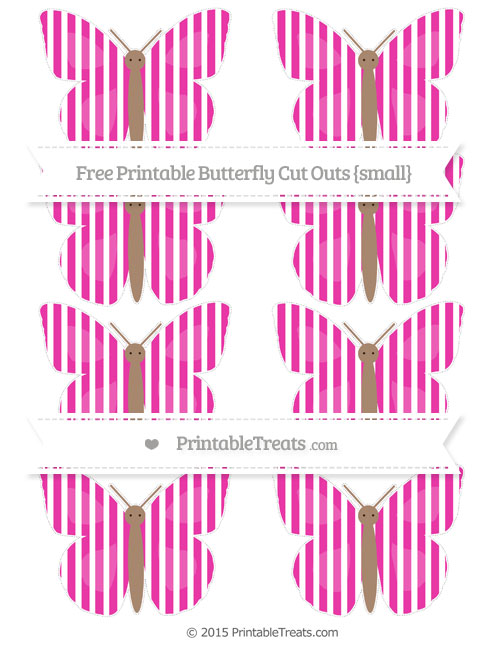 Free Hot Pink Thin Striped Pattern Small Butterfly Cut Outs