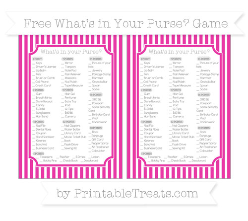 Free Hot Pink Thin Striped Pattern What's in Your Purse Baby Shower Game