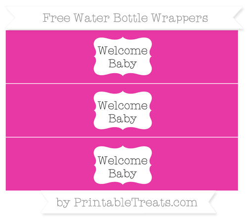 Free Hot Pink Welcome Baby Water Bottle Wrappers