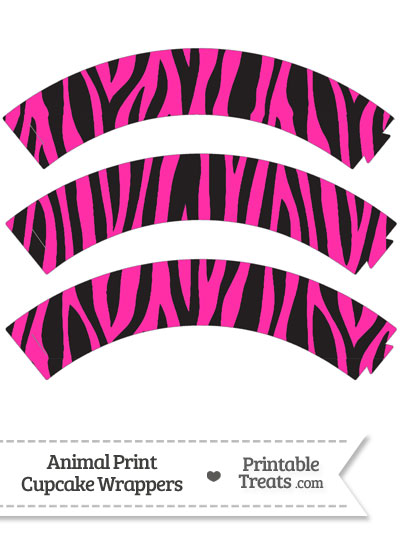 Free Hot Pink Zebra Print Cupcake Wrappers from PrintableTreats.com