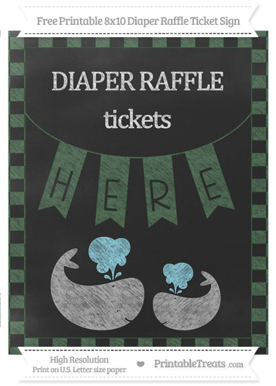 Free Hunter Green Checker Pattern Chalk Style Baby Whale 8x10 Diaper Raffle Ticket Sign