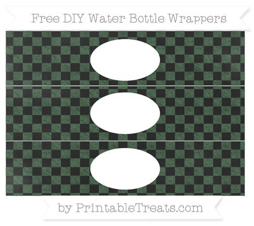 Free Hunter Green Checker Pattern Chalk Style DIY Water Bottle Wrappers