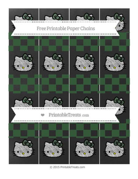 Free Hunter Green Checker Pattern Chalk Style Hello Kitty Paper Chains