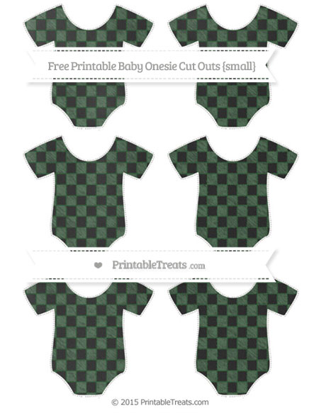 Free Hunter Green Checker Pattern Chalk Style Small Baby Onesie Cut Outs