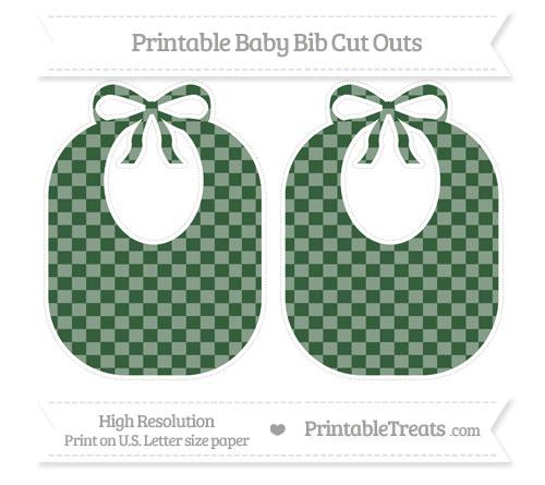 Free Hunter Green Checker Pattern Large Baby Bib Cut Outs