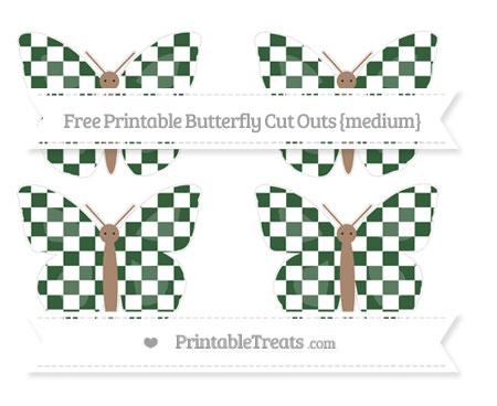 Free Hunter Green Checker Pattern Medium Butterfly Cut Outs
