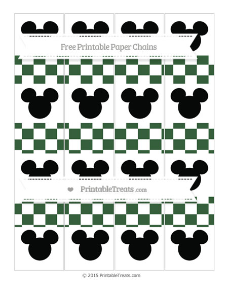 Free Hunter Green Checker Pattern Mickey Mouse Paper Chains