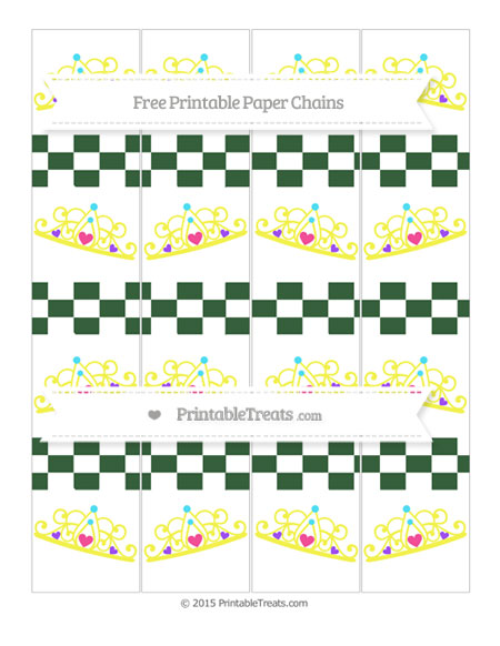 Free Hunter Green Checker Pattern Princess Tiara Paper Chains