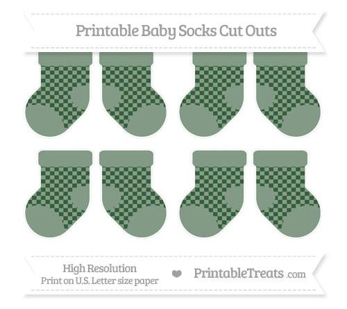 Free Hunter Green Checker Pattern Small Baby Socks Cut Outs