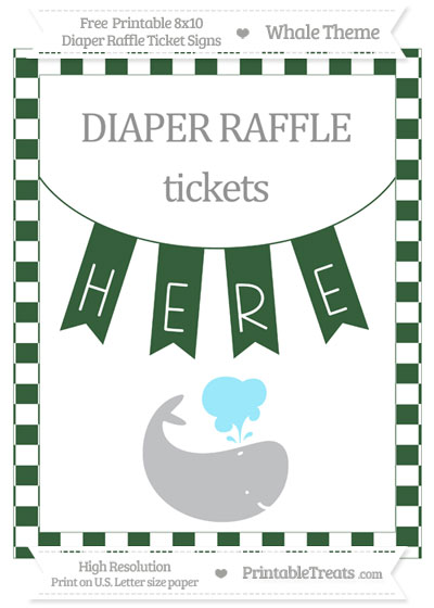 Free Hunter Green Checker Pattern Whale 8x10 Diaper Raffle Ticket Sign