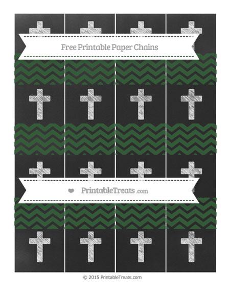 Free Hunter Green Chevron Chalk Style Cross Paper Chains
