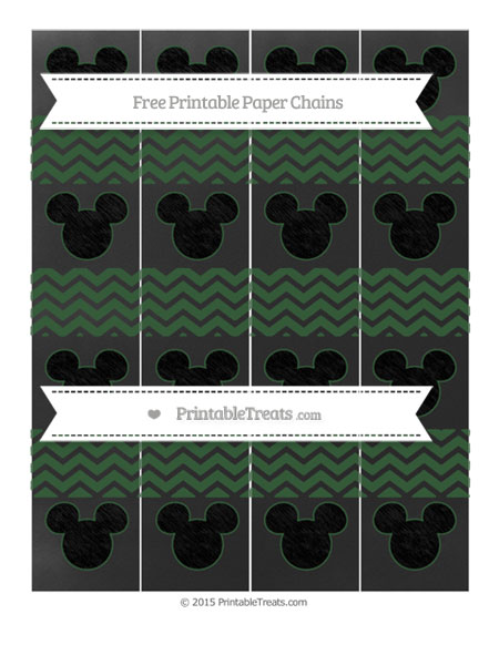 Free Hunter Green Chevron Chalk Style Mickey Mouse Paper Chains