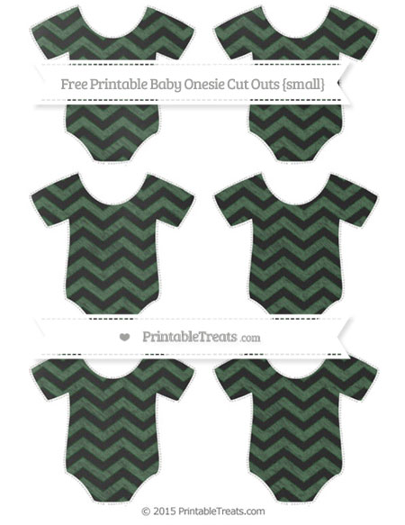 Free Hunter Green Chevron Chalk Style Small Baby Onesie Cut Outs