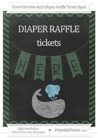 Free Hunter Green Chevron Chalk Style Whale 8x10 Diaper Raffle Ticket Sign