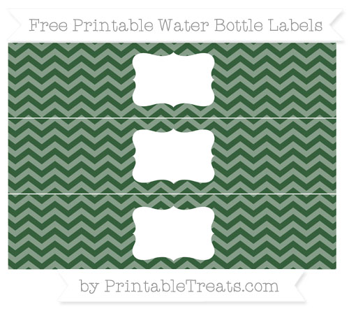 Free Hunter Green Chevron Water Bottle Labels