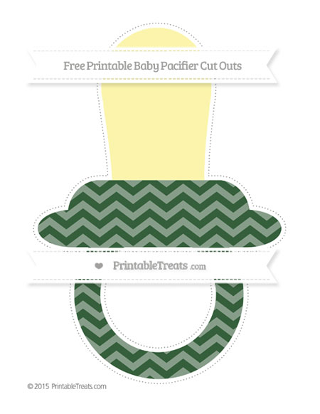 Free Hunter Green Chevron Extra Large Baby Pacifier Cut Outs
