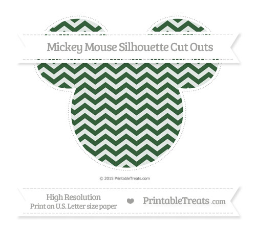 Free Hunter Green Chevron Extra Large Mickey Mouse Silhouette Cut Outs