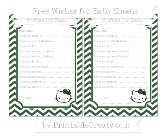 Free Hunter Green Chevron Hello Kitty Wishes for Baby Sheets