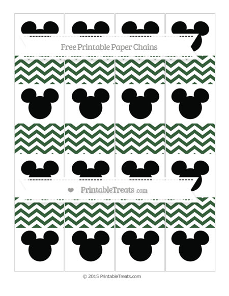 Free Hunter Green Chevron Mickey Mouse Paper Chains