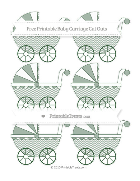 Free Hunter Green Chevron Small Baby Carriage Cut Outs