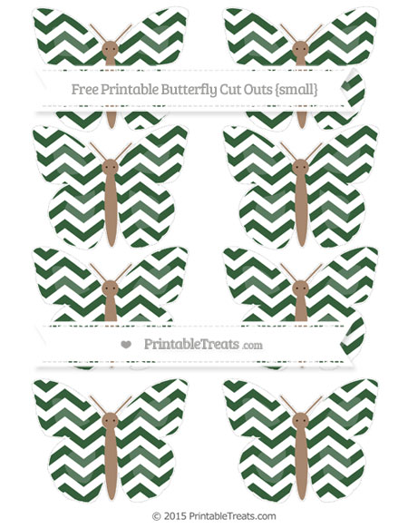 Free Hunter Green Chevron Small Butterfly Cut Outs