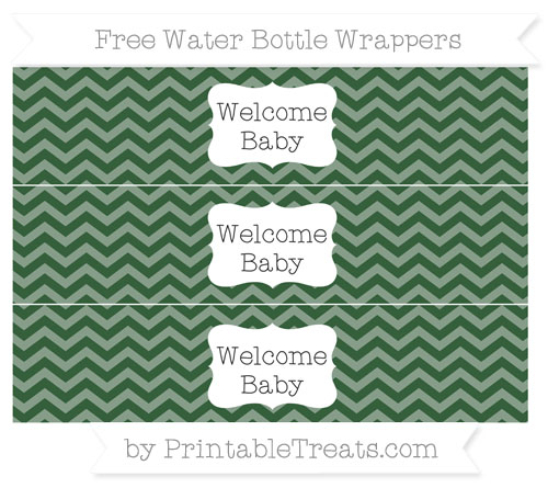 Free Hunter Green Chevron Welcome Baby Water Bottle Wrappers