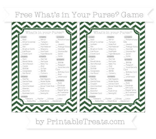 Free Hunter Green Chevron What's in Your Purse Baby Shower Game