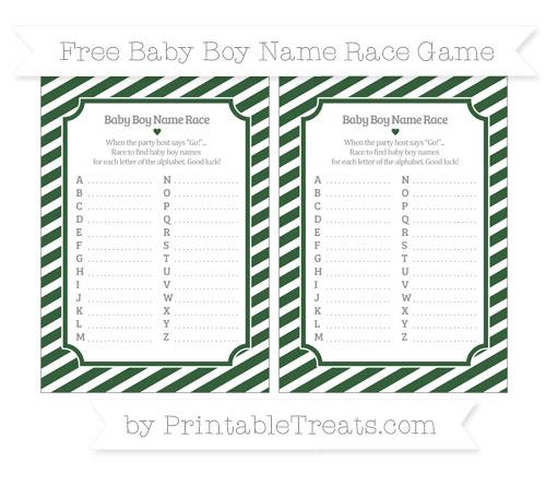 Free Hunter Green Diagonal Striped Baby Boy Name Race Game